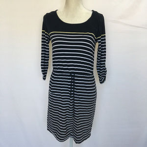 Banana Republic Navy/White Stripe Blouson Dress M